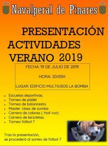 Presentación de Actividades Verano 2019 @ Edificio Multiusos - Navalperal de Pinares