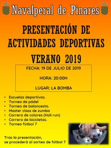 Presentación de Actividades Deportivas Verano 2019 @ Edificio Multiusos - Navalperal de Pinares