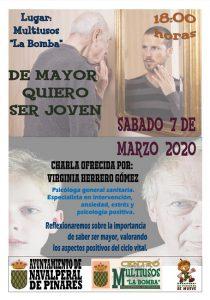 "Charla ""De mayor quiero ser joven"" @ Centro Multiusos La Bomba"