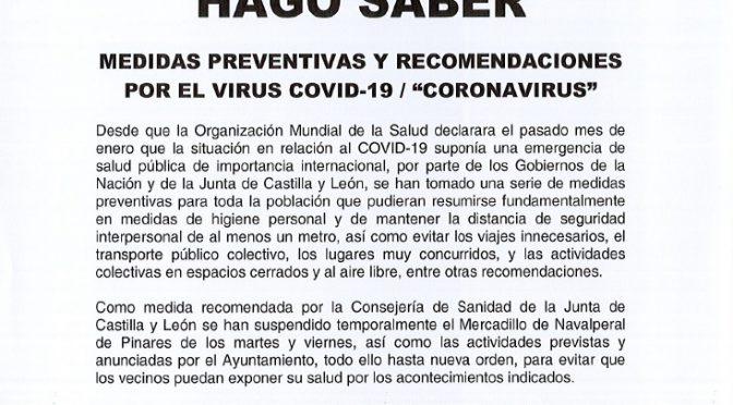BANDO – Suspendido el mercadillo municipal y las actividades previstas